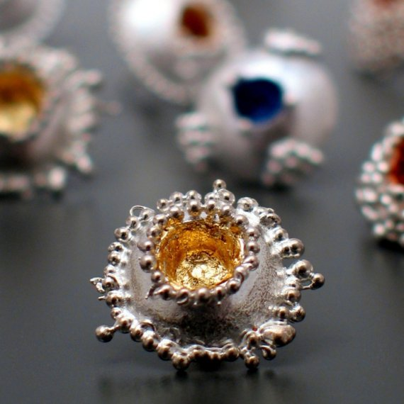 granulation earrings gold leaf interior