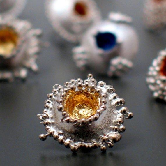 granulation earrings gold leaf interior