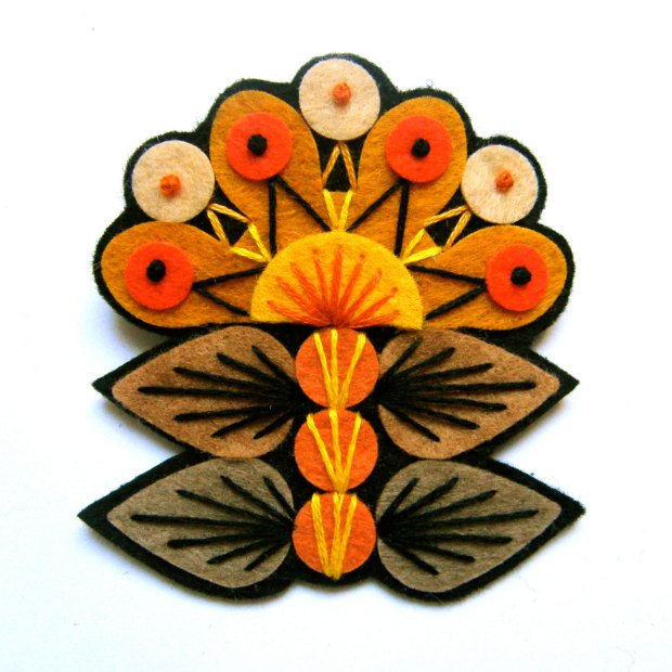 INGRID felt brooch pin with freeform embroidery - scandinavian style brown