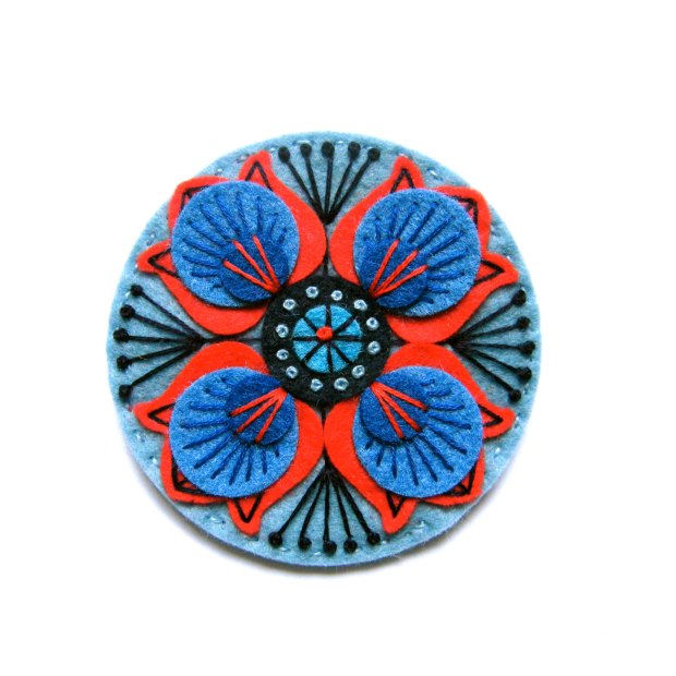MARRAKECH felt brooch pin with freeform embroidery - scandinavian style