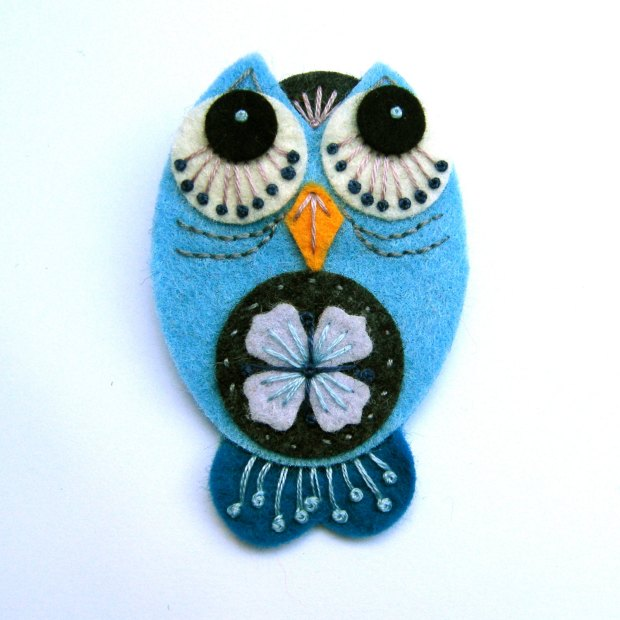 OWL felt brooch pin with freeform embroidery