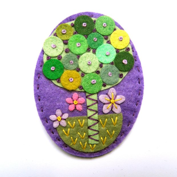 TREE felt brooch pin with freeform embroidery - scandinavian style purple